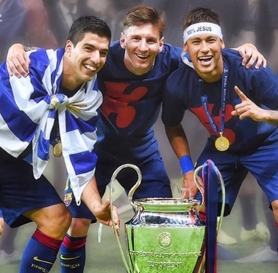 O trio Suárez, Messi e Neymar se tornou o ataque mais ofensivo da história do futebol espanhol ao marcar 121 gols na temporada 2014/2015. Foto: Instagram/neymarjr