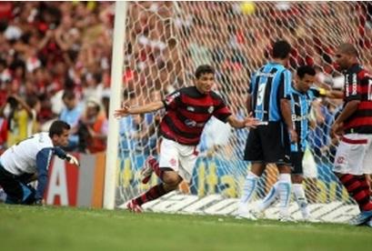 Ronaldo Angelim marcou o segundo gol contra o Grêmio no jogo que valeu o hexa brasileiro ao Flamengo. Foto:Flamengo.com.br/Divulgação