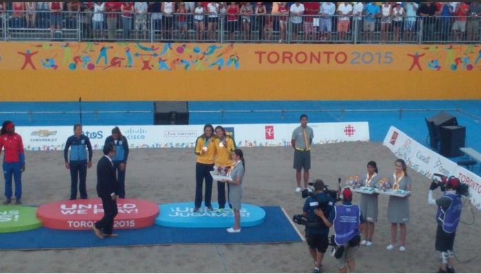 Carol Horta se junta a Shelda, e Franco Neto, os outros cearenses que ganharam medalha no vôlei de praia em Pan-americano. Foto: Time Brasil/Divulgação