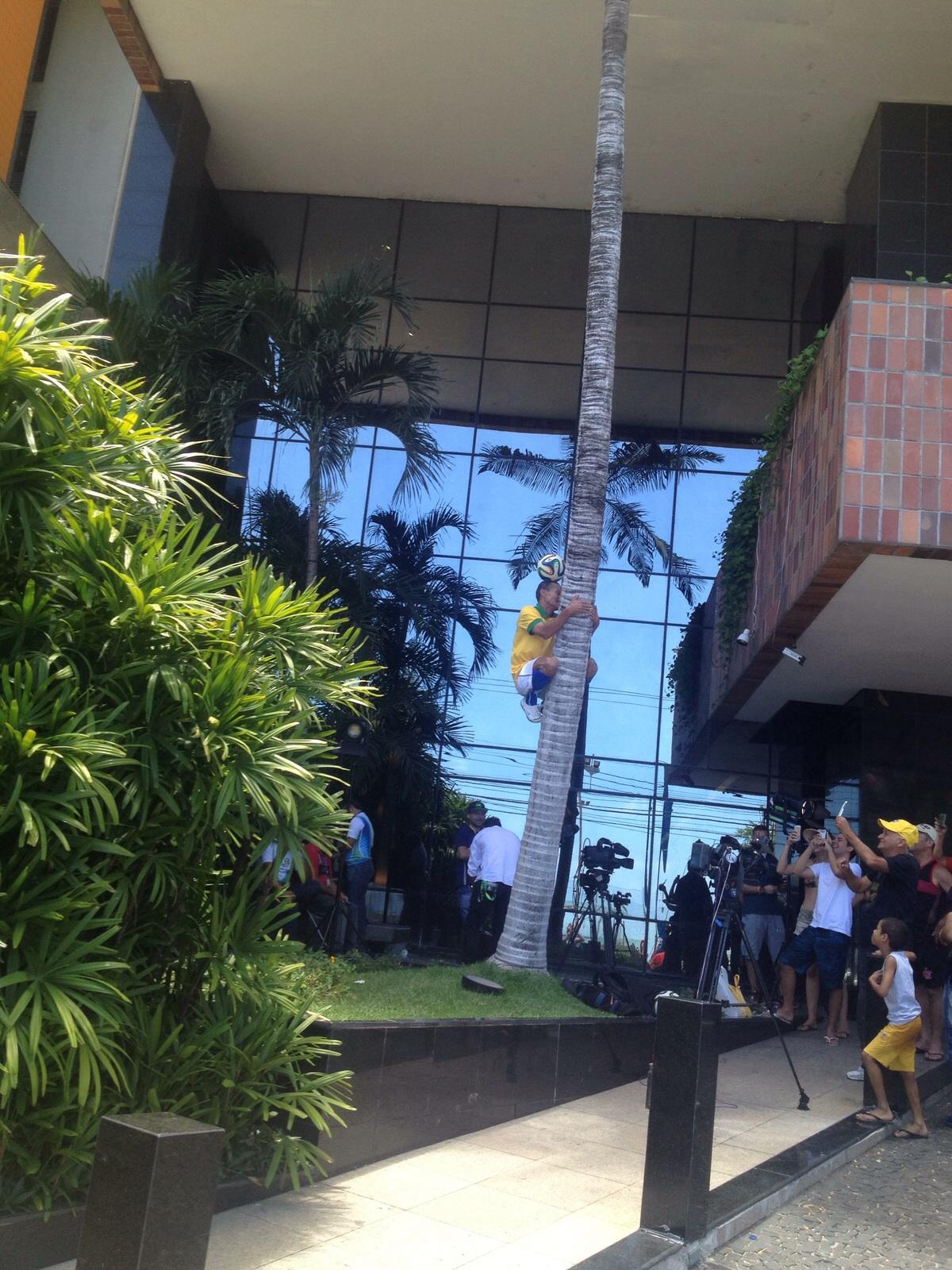 Jacozinho chamou a atenção das pessoas ao subir em um coqueiro equilibrando uma bola na cabeça. Foto: Leandro Monteiro