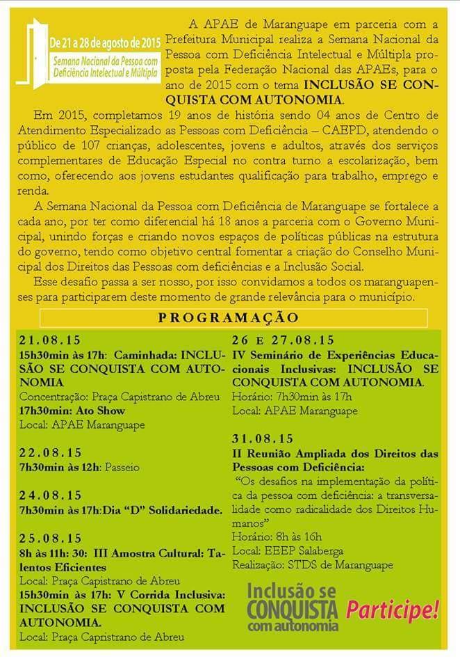 Semana Nacional da Pessoa com Deficiência Intelectual e Múltipla. Divulgação