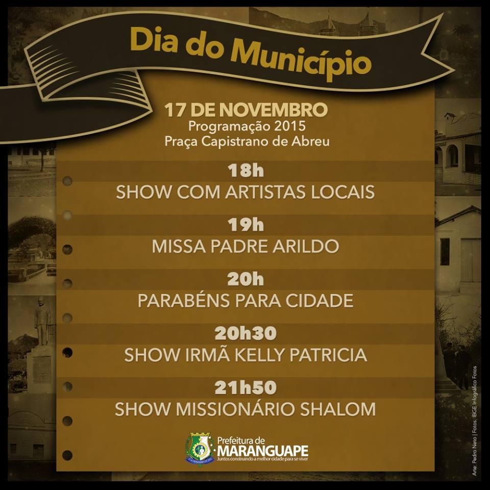 Aniversário de 164 anos de Maranguape-CE. Divulgação Prefeitura Municipal de Maranguape.