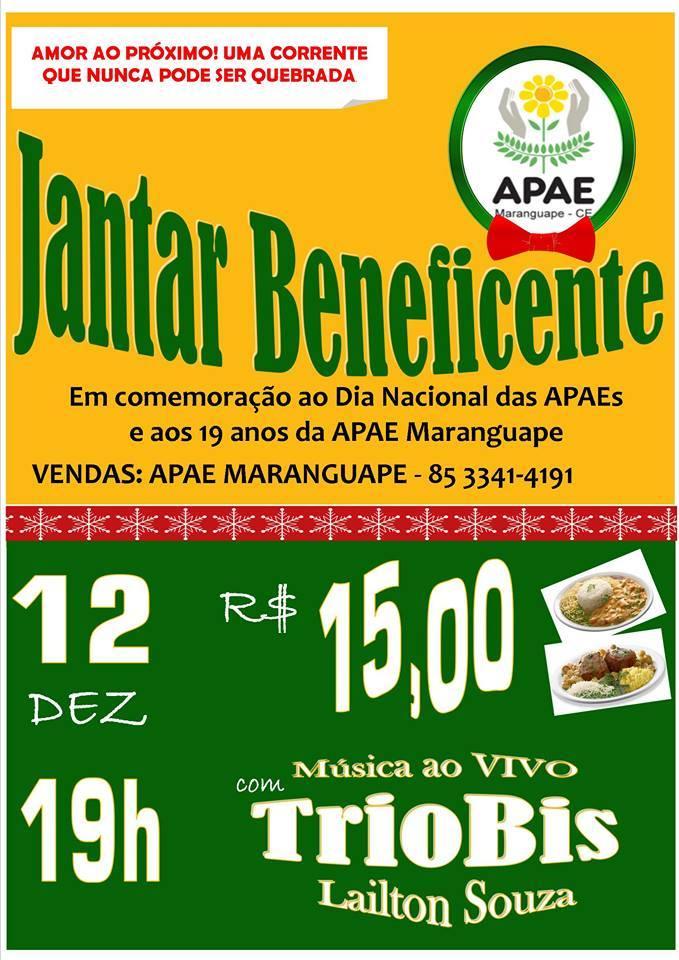 Jantar APAE Maranguape. Divulgação