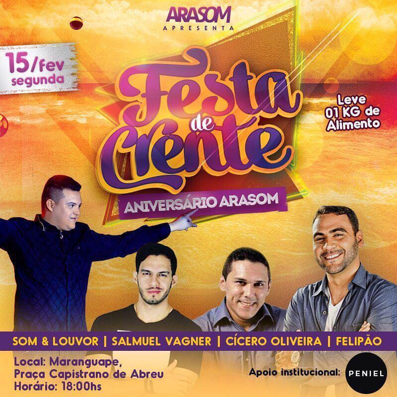 Felipão faz show na Festa de Crente 2016, em Maranguape-Ce. Divulgação