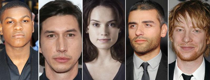 John Boyega, Adam Driver, Daisy Ridley, Oscar Isaac e Domhnall Gleeson são as novidades no novo filme da saga Star Wars