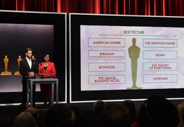 Anúncio foi feito pelo ator Chris Pine, pelos diretores Alfonso Cuarón e J.J. Abrams, e pela presidente da Academia, Cheryl Boone Isaacs - Foto: AFP