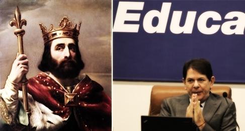 À esquerda, o rei Pepino, o Breve, original franco. À direita, o ministro pepino, o breve - versão brasileira