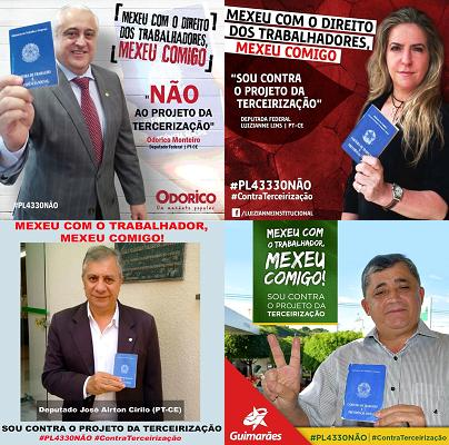 Bancada federal do PT no Ceará posa contra a terceirização. Não sensibilizou, mas o time continua unido pelo instinto de autopreservação. Não mexam com o Vaccari!